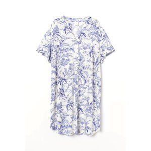 NWT H&M toile Cream and Blue V-Neck Toile Dress